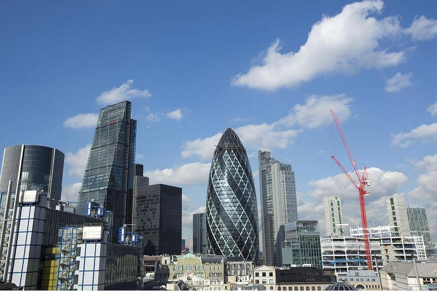 Iconic office buildings in the City of London.
