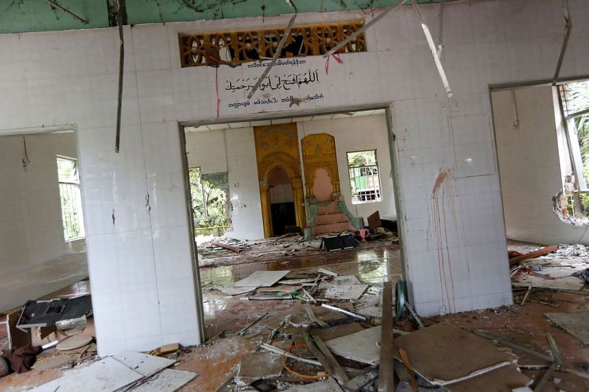 The interior of a destroyed mosque in the village of Thayethamin, outside Yangon, on June 24, 2016.