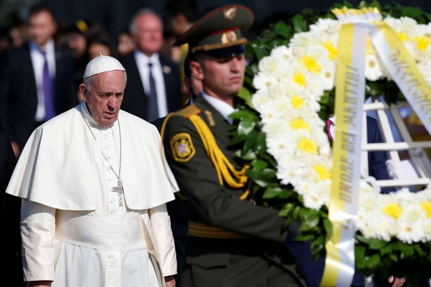 Pope Francis attends a commemoration ceremony for Armenians killed by Ottoman Turks in Yerevan, Armenia, on June 25, 2016.