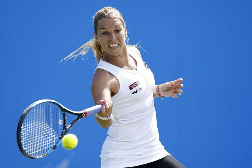 Slovakia's Dominika Cibulkova in action during the final at the WTA Eastbourne event on June 25, 2016.