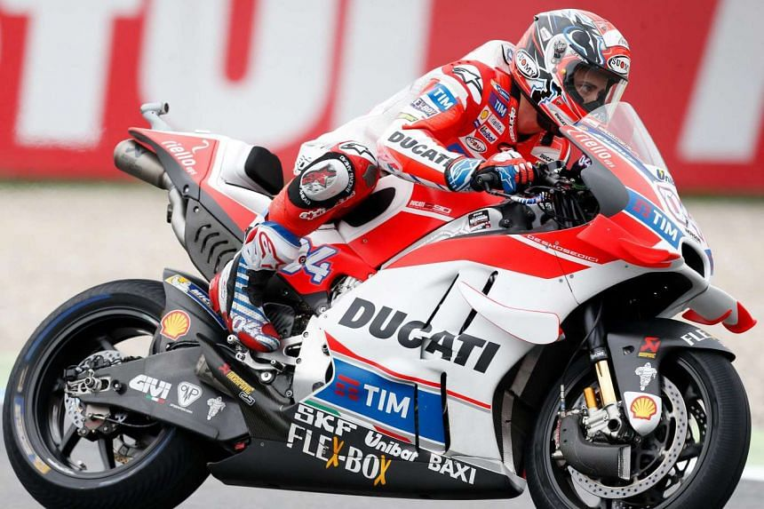 Andrea Dovizioso on his Ducati during the MotoGP qualifying for the Dutch Motorcycling Grand Prix in Assen, on June 25, 2016.