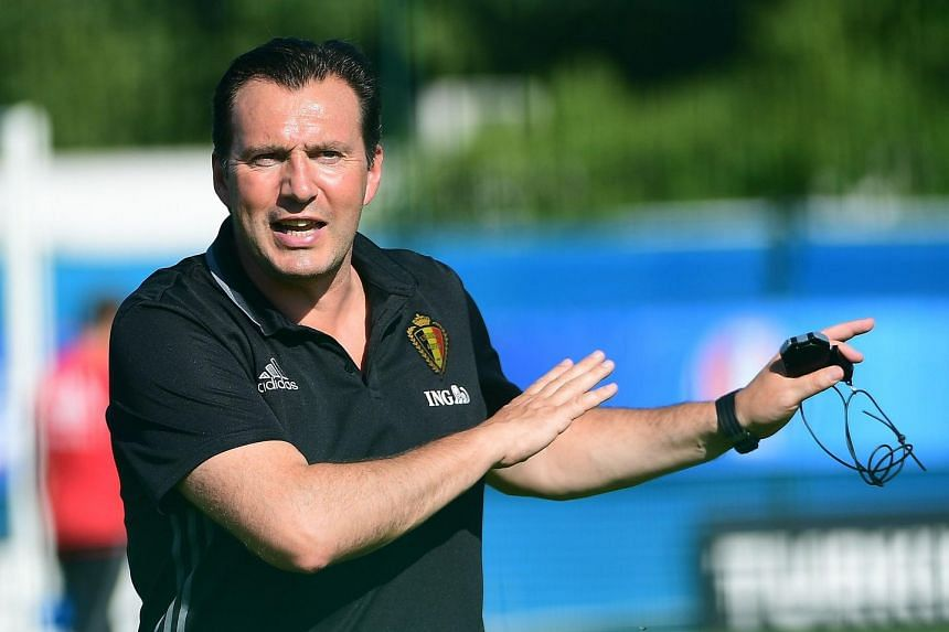 Belgium coach Marc Wilmots at a training session during Euro 2016 June 23.
