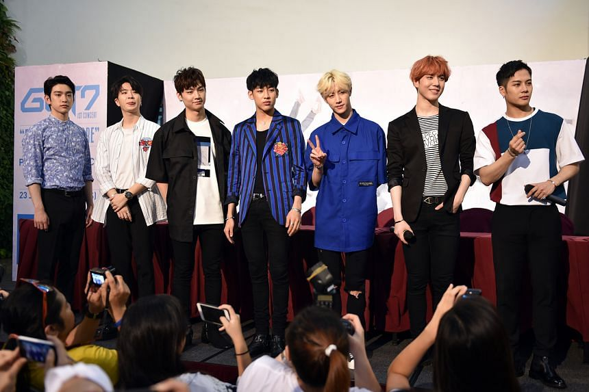 The members of Got7 (from far left) Junior, Youngjae, JB, BamBam, Mark, Yugyeom and Jackson at the press conference on Thursday.