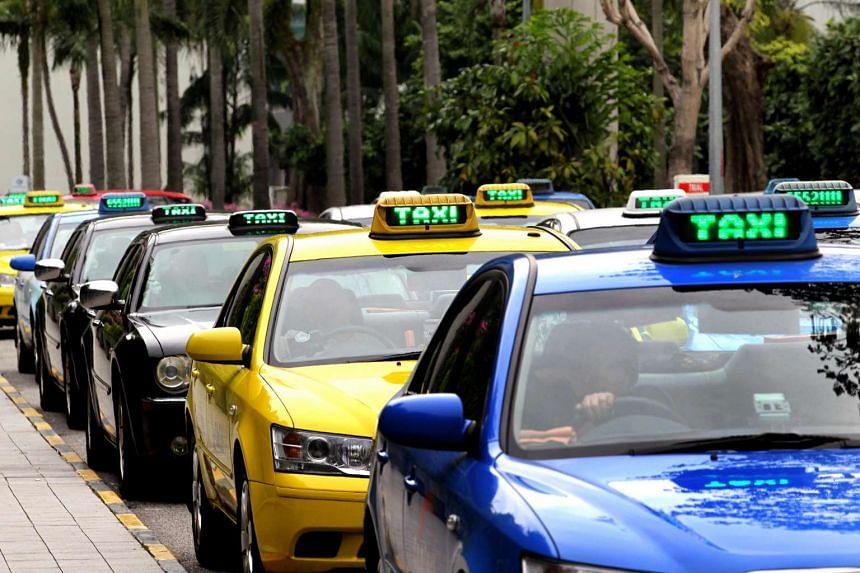 Taxi queue at Singapore's Changi Airport Terminal 1.