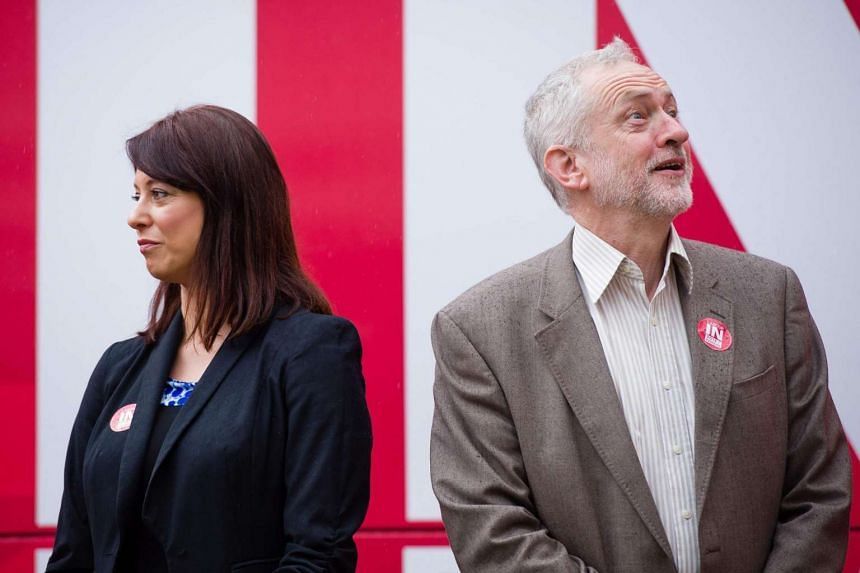 British shadow Minister for Young People Gloria De Piero (left) and Labour Party leader Jeremy Corbyn at a campaign event in London on May 10, 2016.