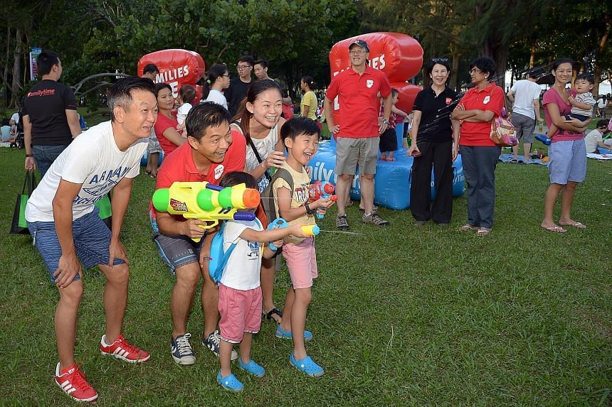 It was Daddy's Day Out at East Coast Park yesterday, as more than 700 families gathered for an evening of fun, food and games to celebrate the role of fathers, grandfathers and uncles in their lives. Minister for Social and Family Development Tan Chu