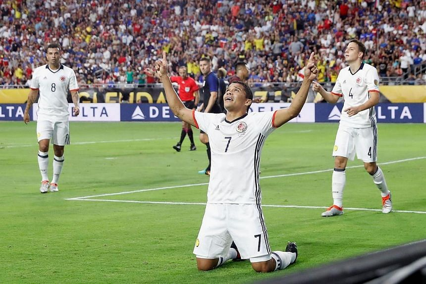 Carlos Bacca #7 of Colombia celebrates his first half goal against the US during the 2016 Copa America Centenario third place match at University of Phoenix Stadium on June 25 in Glendale, Arizona.