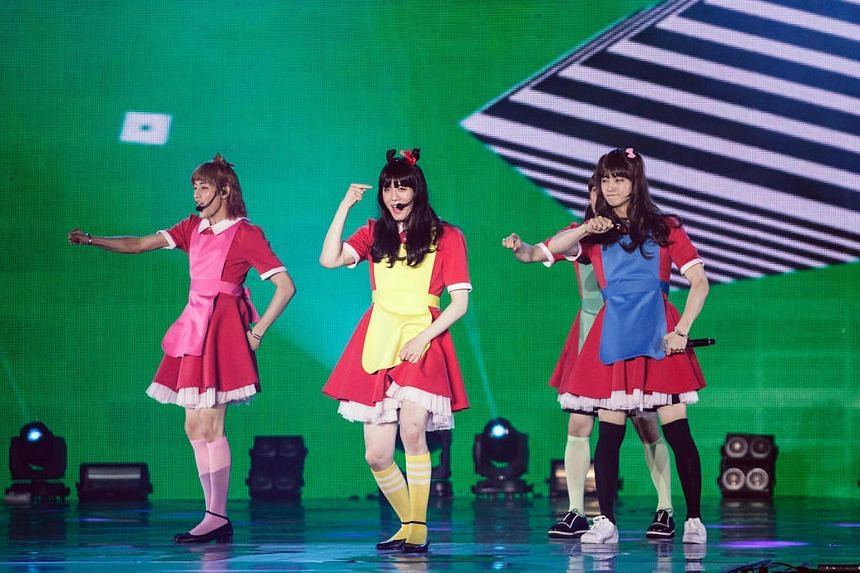 K-pop boy band Got7 upped their game at the concert on Friday (June 24) shedding their suave looks in favour of dresses and wigs to cross-dress as members of all-girl Korean pop bands GFriend and Red Velvet.