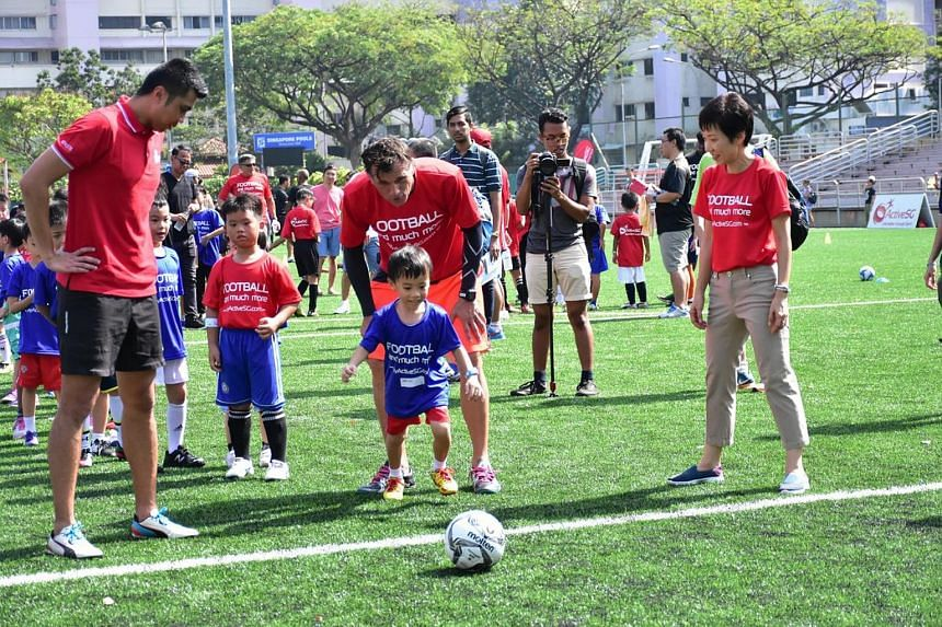 Youngsters in action at Serangoon Stadium on Sunday (June 26) as first ActiveSG Football Academy programme concludes.