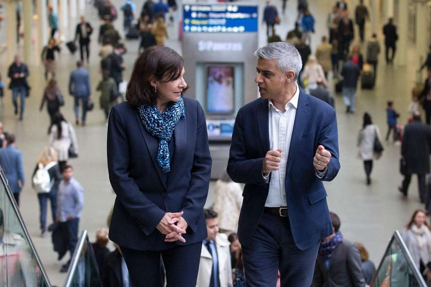 """Mayor of London Sadiq Khan (right) and Mayor of Paris Anne Hidalgo had vowed on Monday (June 27) to work closer together to """"shape the century ahead"""" despite """"Brexit""""."""
