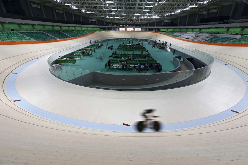 A cyclist in action inside the Velodrome cycling venue in Rio de Janeiro, Brazil, on June 26, 2016.