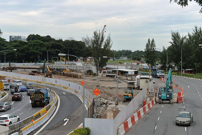 Unlike most underpasses in Singapore which tend to be fairly straight and short, the new two-lane underpass will form a wide arc under the Mountbatten and Guillemard junction (left), allowing traffic from the KPE and Sims Way to get to Nicoll Highway