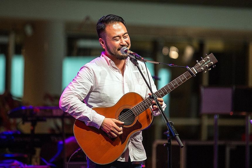 Singer Saiful Idris performing in what could be The E's only live gig and songwriter Nicholas Chim (above) singing at this year's Baybeats.
