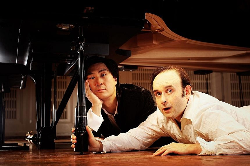 Korean pianist Joo Hyung Ki and Russian violinist Aleksey Igudesman (both above) will be in Singapore for two nights of concerts.