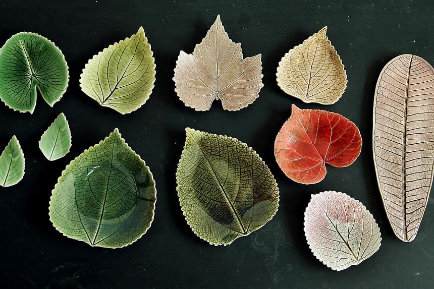 Mr Davy Young's ceramic leaf creations were a result of his love of the varied textures of nature and keen eye for detail.