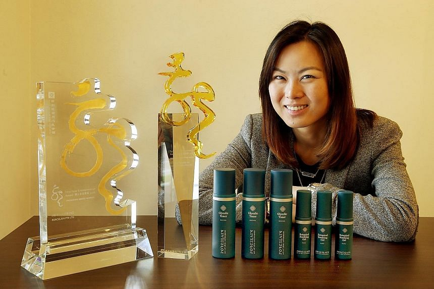 Ms Ng was the youngest winner at the Teochew Entrepreneur Award. She is the founder of Porcelain, a face spa company.
