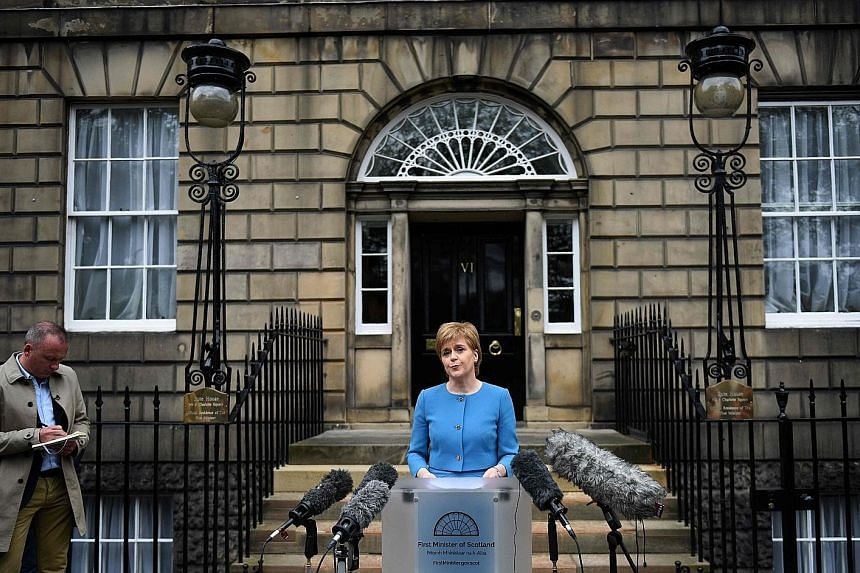 Scotland's First Minister Nicola Sturgeon addressing the media after an emergency Cabinet meeting at Bute House in Edinburgh, last Saturday. The nation of five million voted to stay in the EU by 62 per cent to 38 per cent, putting it at odds with the