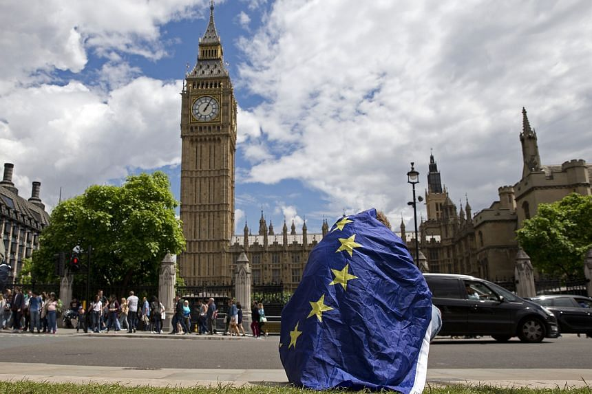 A demonstrator draped in an EU flag sits on floor during a protest against the outcome of the UK's June 23 referendum on the European Union, in central London on June 25.