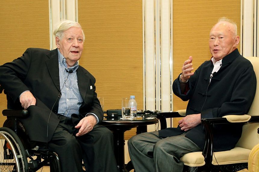 Mr Lee Kuan Yew (right) and former German chancellor Helmut Schmidt met in Singapore in May 2012 to discuss Europe's crisis and other issues.