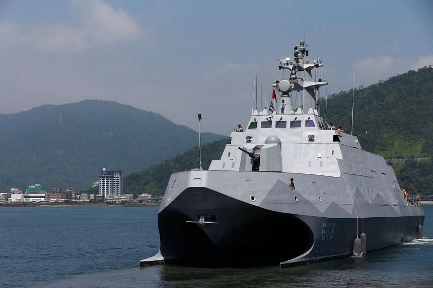 Taiwan's first domestically built 600-ton Tuo Jiang twin-hull stealth missile corvette at Suao Naval Base in Yilan, Taiwan, on June 4, 2016.