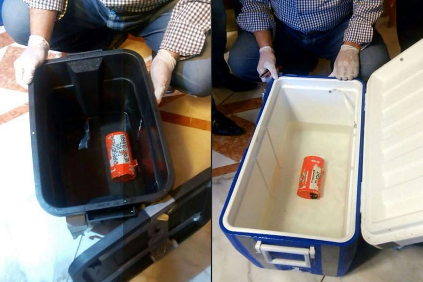 The two black boxes from the crashed EgyptAir plane, after they were recovered from the bottom of the Mediterranean by search teams.