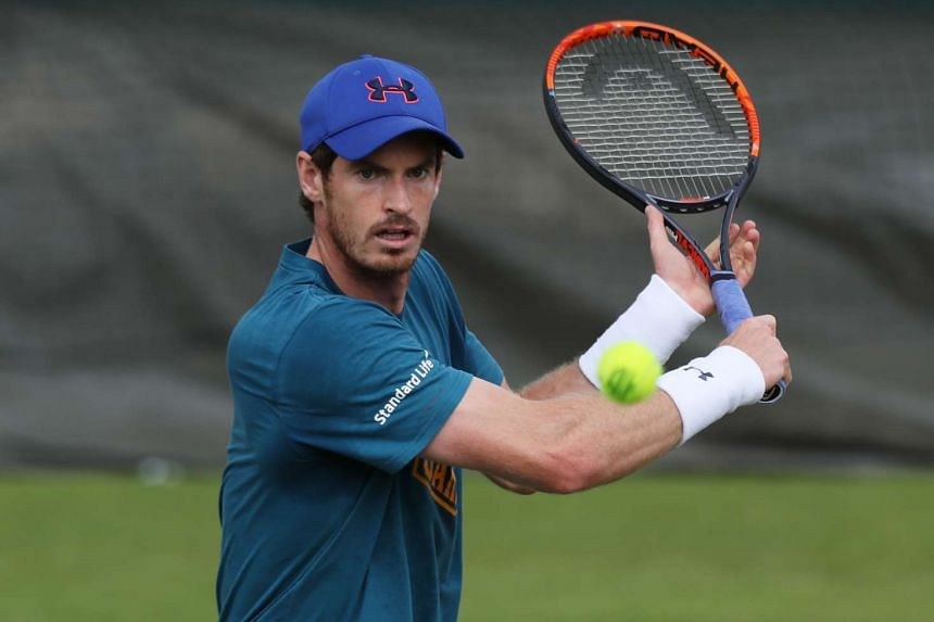 Andy Murray at a practice session on June 25, 2016, at the All England Lawn Tennis & Croquet Club in Wimbledon.