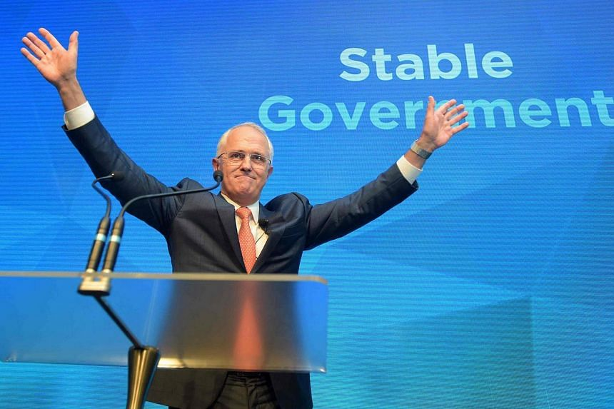 Australian PM Malcolm Turnbull reacts after addressing party members at the Coalition Campaign Launch in Sydney on June 26.