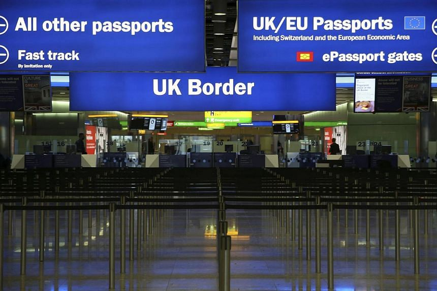 UK border control seen in Terminal 2 at Heathrow Airport in London, England, in 2014.