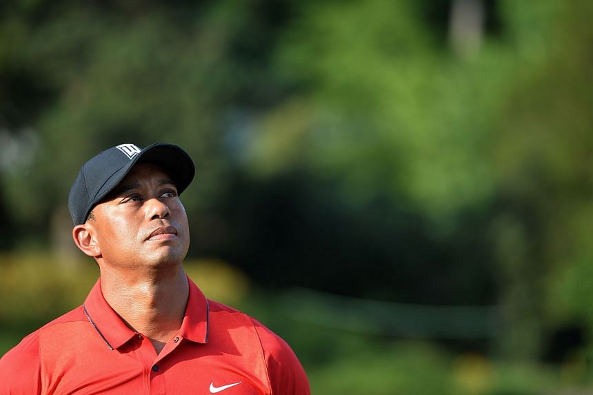 Tiger Woods looks on after the Quicken Loans National at Congressional Country Club in Bethesda, Maryland.