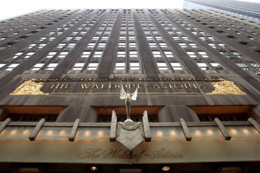 Facade of Waldorf Astoria hotel in New York, US. China's Anbang Insurance Group Co plans to convert  most of classic Waldorf Astoria hotel into luxury apartments, the Wall Street Journal reported.