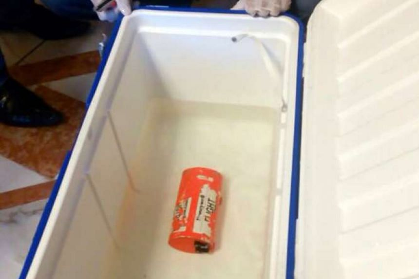 A handout picture taken at an undisclosed location in Egypt and released by the Egyptian Media Center of the ministry of Civil Aviation on June 17, 2016 shows one of the two black boxes from the EgyptAir plane.