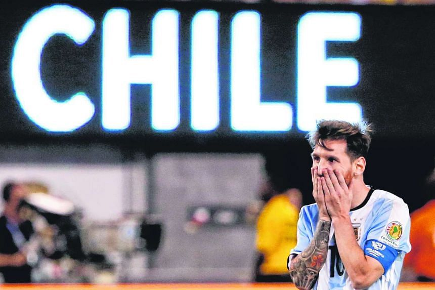 12adfb0c7 Argentina midfielder Lionel Messi reacts during extra time against Chile  during their COPA America Centenario USA