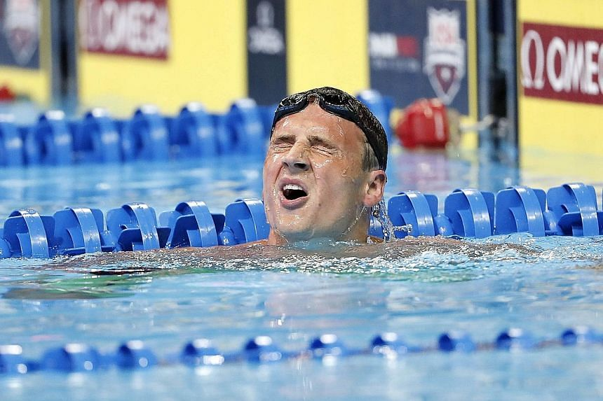 Olympic 400m individual medley champion Ryan Lochte feeling the strain after finishing third in the US trials in Omaha, to miss out on defending his title in Rio in August. He is the second fastest in history in the event after Michael Phelps.
