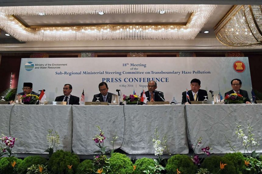 Ministers from Asean attend a press conference on the 18th Meeting of the Sub-Regional Ministerial Steering Committee on Transboundary Haze Pollution in Singapore on May 4, 2016.