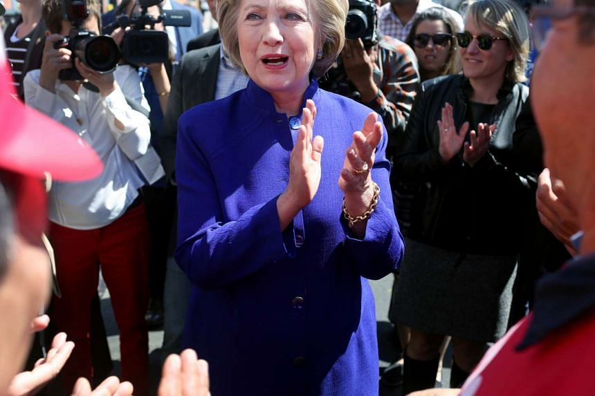 Hillary Clinton, wearing a McLemore jacket, campaigns in Queens, New York, in April.