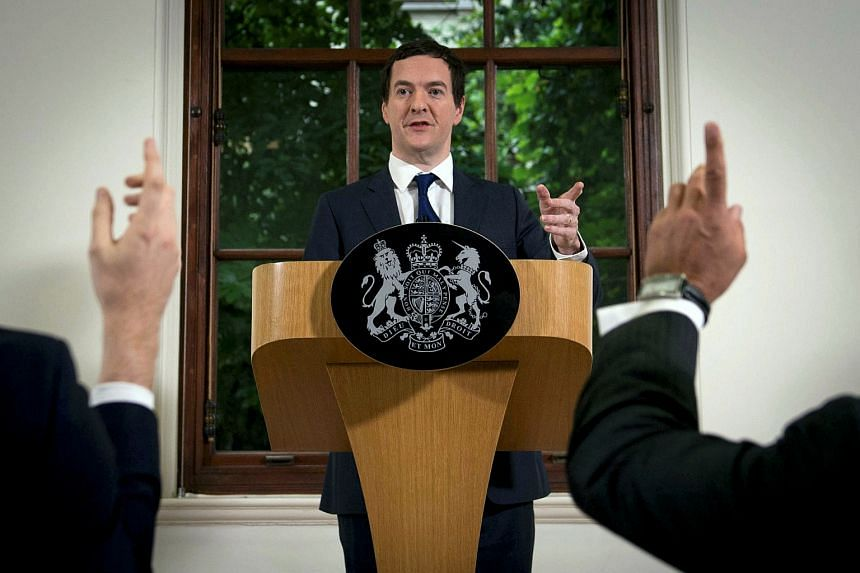 British finance minister George Osborne speaks at a news conference in central London.