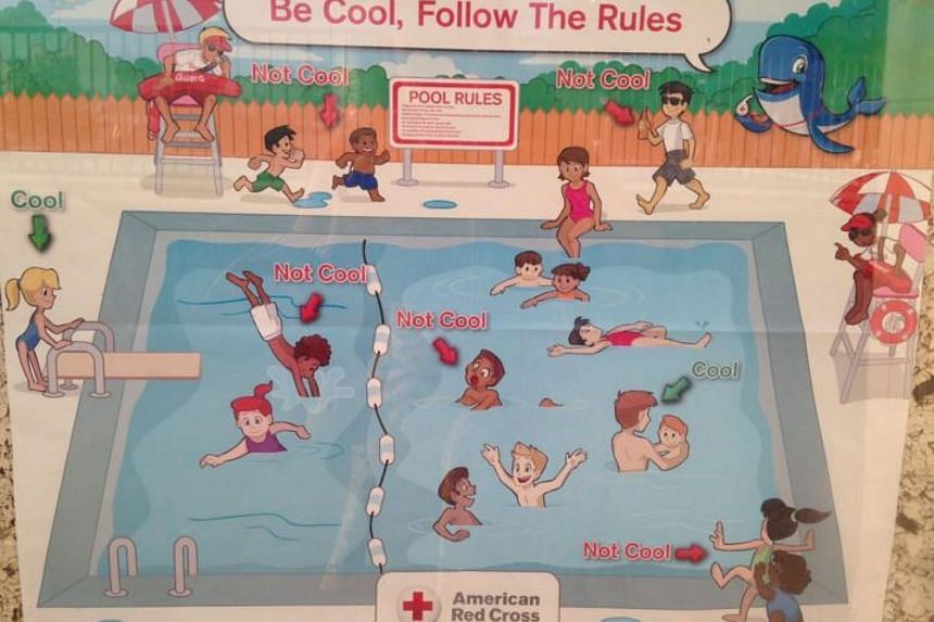 """The """"Be Cool, Follow The Rules"""" poster contained more black children breaking the rules."""
