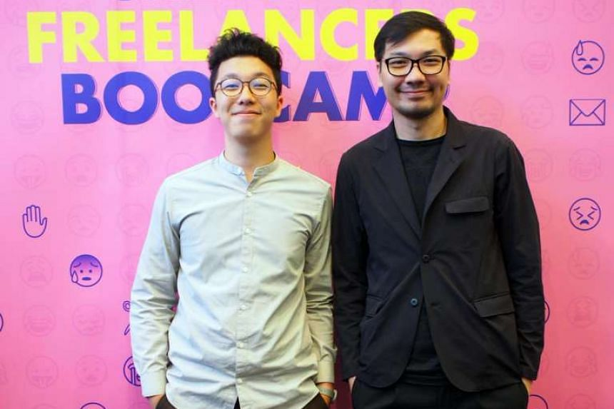 Freelance graphic designer Justin Chan (left) and his mentor Jackson Tan, creative director of branding and design agency Black.