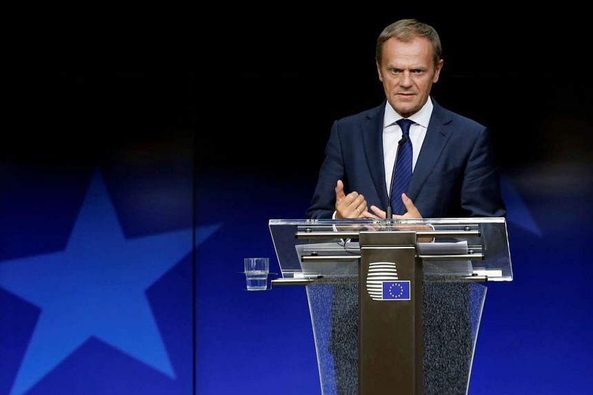 European Council President Donald Tusk addresses a news conference on the second day of the EU Summit in Brussels on June 29, 2016.