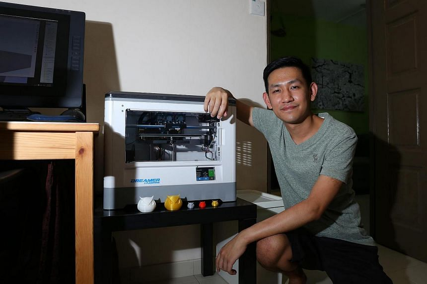 Mr Winson Kong owns a 3D printer and 3D print items at home to sell, including coasters and reed diffusers.