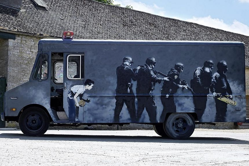 Graffiti artist Banksy's Swat van is up for auction today.