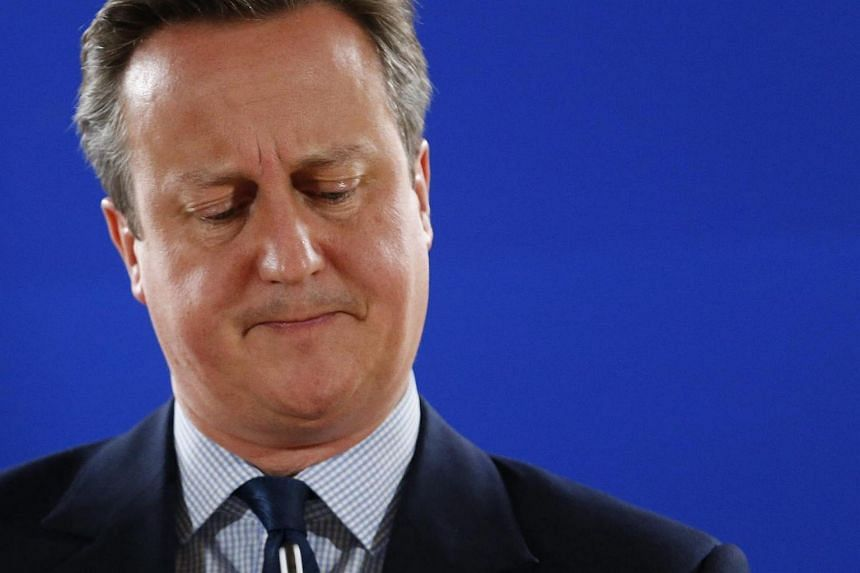 British Prime Minister David Cameron holding a news conference at the European Summit in Brussels on June 28.