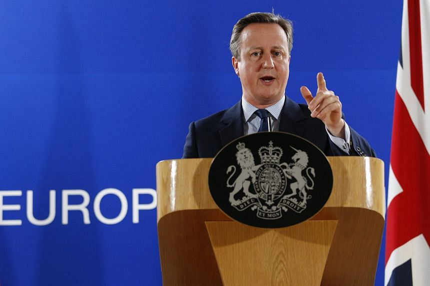 Britain's Prime Minister David Cameron holds a news conference at the end of the first day of the European Summit in Brussels, Belgium.