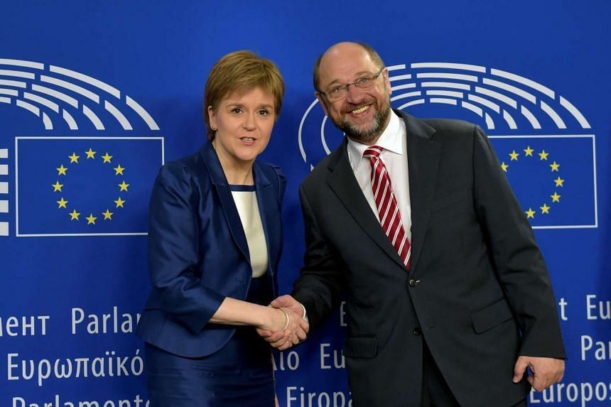 Scotland's First Minister Nicola Sturgeon is welcomed by European Parliament President Martin Schulz.
