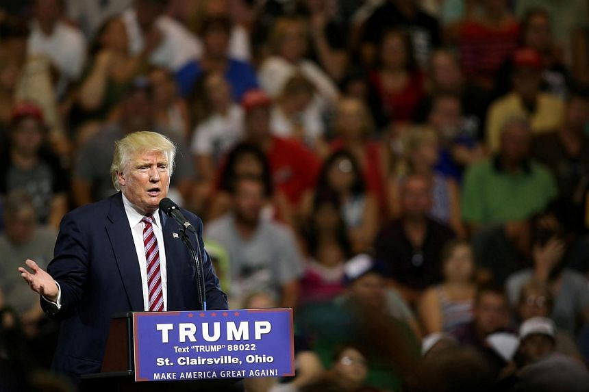 Republican US presidential candidate Donald Trump speaks at a campaign rally in St. Clairsville, Ohio.
