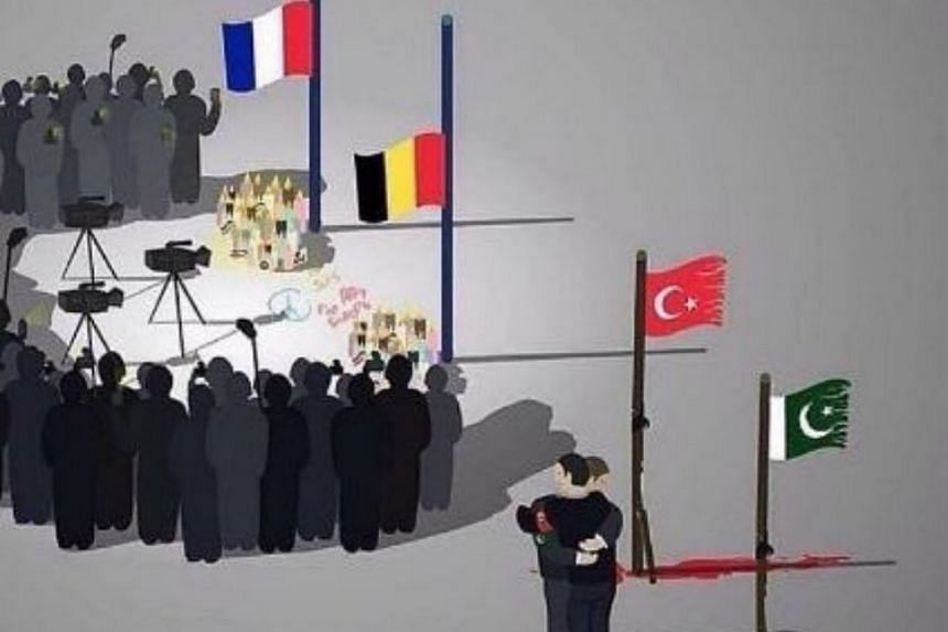 A cartoon depicted the media bias of the coverage of terror attacks in Western countries is going viral.
