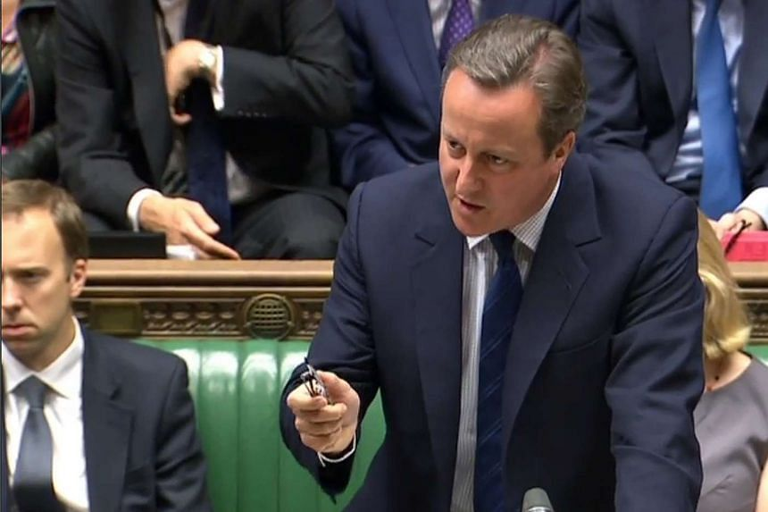 """For heaven's sake man, go,"" Cameron (above) told opposition Labour leader Jeremy Corbyn, to cheers from MPs."
