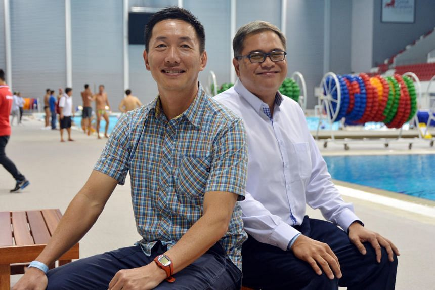 (From left) Wilson Ang, assistant secretary-general of water polo, and Samson Tan, vice-president of water polo.