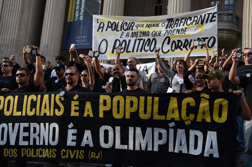Civil police officers threatening to go on strike demonstrate against the government for arrears in their salary payments, in Rio de Janeiro, Brazil.
