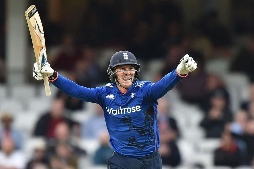 England's Jason Roy celebrates reaching his century during play in the fourth One Day International (ODI) cricket match between England and Sri Lanka.